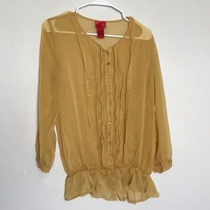 V Cristina mustard embroidered blouse